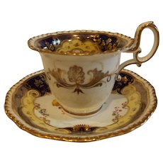 Antique English Daniel Coffee Cup & Saucer C.1825