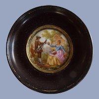 Framed Vintage Hand Painted French Porcelain Miniature