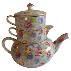 English Royal Winton Chintz Stacked Teapot Stratford Pattern
