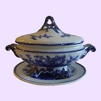 Antique Adams Staffordshire Blue and White Sauce Tureen with Underplate