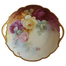 Exquisite Antique Limoges Hand Painted Dessert Plate with Cabbage Roses