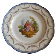 Antique Meissen Plate with Hand Painted Decoration