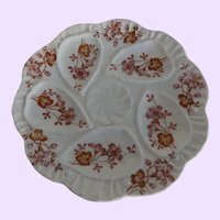 Antique Continental Oyster Plate with Floral Decoration