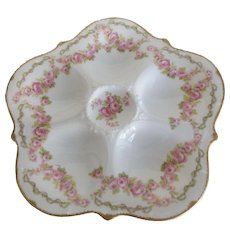Antique Limoges Oyster Plate with Pink Cabbage Roses