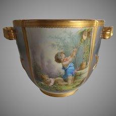 Exquisite Antique English Porcelain Wine Cooler Cachepot-Romantic!