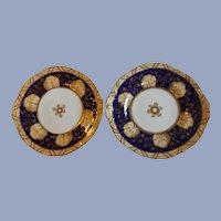 Pair of 19th Century English Cobalt and Buff Dessert Plates