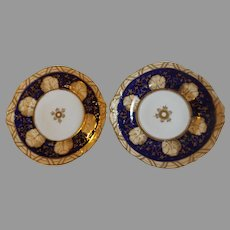 Pair of 19th Century English Cobalt and Buff Dessert Plates