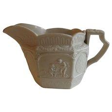 Antique English Salt Glaze Drabware Milk Jug Creamer Putti & Lion