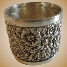 Heavy Beautiful Sterling Silver Napkin Ring Repousse