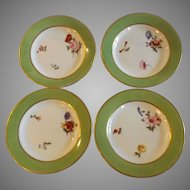 Set of 4 Royal Crown Derby Dessert Plates with Hand Painted Floral Decoration