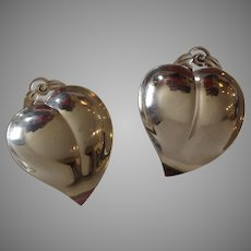 Pair of Tiffany Sterling Silver Heart Shaped Pin Dishes