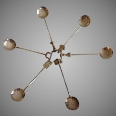 Set of 6 Vintage Sterling Silver Demitasse Japanese Figural Spoons