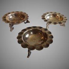 Trio of Antique Sterling Silver Sanborns Mexico Salts