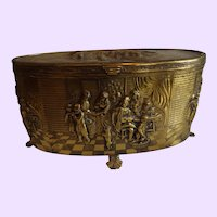 Vintage Brass Jewelry Casket with Music Box