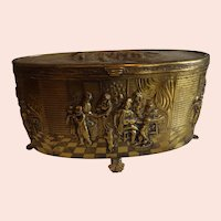 Vintage Brass Jewelry Casket with Music Box