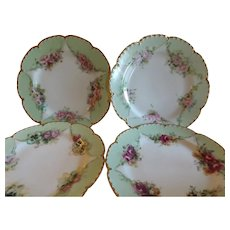 Set of 4 Gorgeous Haviland Limoges Hand Painted Dessert Plates