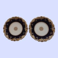 A Pair of Truly Exquisite Copelands English Antique Plates with Beaded Accent
