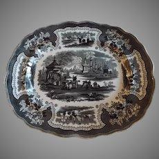 William Adams Antique English Transferware Platter, Palestine Pattern
