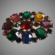 Vintage Multi-Colored Rhinestone Brooch