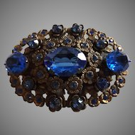 Vintage Blue Rhinestone and Filigree Brooch