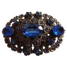 Vintage Blue Rhinestone and Filigree Brooch