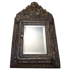 Marvelous Antique French Mirror Brush Holder