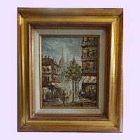 Mid Century Framed Oil on Canvas of Paris by Caroline Burnett