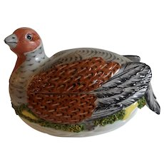 Antique English Staffordshire Hen on Nest with Applied Coleslaw