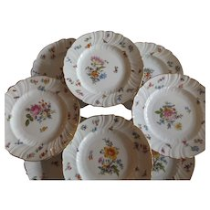 Set of 8 Antique Dresden Dessert Plates Marked Gilman Collamore, New York