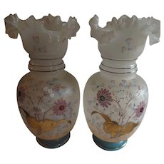Pair of Exquisite Victorian Art Glass Vases