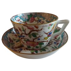 Antique English Cup & Saucer circa 1800-1810, Indian Tree, French Handle