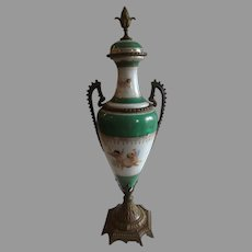 Exquisite Antique Porcelain Urn with Hand Painted Putti Cherubs & Bronze Fittings