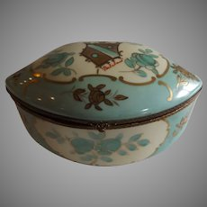 Antique French Hand Painted Porcelain Jewelry Box Casket