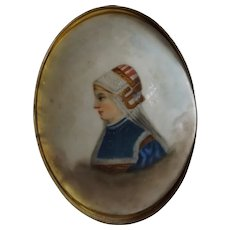 Antique Hand Painted on Porcelain Picture in Brass Easel Frame
