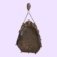Antique Sterling Silver Mesh Purse with Mask Decoration and Clip