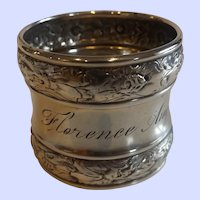 "Antique Sterling Silver Napkin Ring ""Florence"""