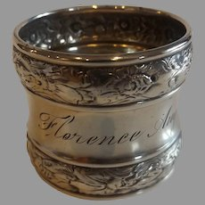 """Antique Sterling Silver Napkin Ring """"Florence"""""""