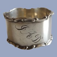 """Antique 1907 Towle Sterling Silver Napkin Ring """"JAD"""""""