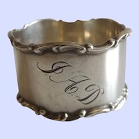 "Antique 1907 Towle Sterling Silver Napkin Ring ""JAD"""