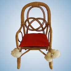 Vintage Rattan Doll Chair with Velvet Cushion & Tassels