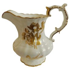 English Hammersley Rose Pitcher with Gold Gilt Roses