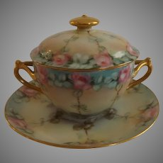 Gorgeous Limoges Lidded Cup and Saucer with Pink Cabbage Roses