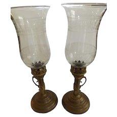 Pair of Antique Heavy Brass Candelabra with Glass Fleur de Lis Hurricane Shades