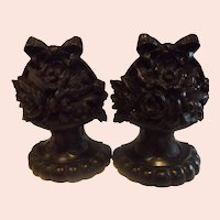 Exquisite Set of Hand Carved Emanuel Kopriwa Chicago Bookends with Flowers