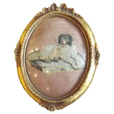 Wonderful Vintage Framed Needlepoint of a Dog