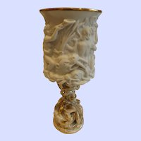Antique French Jacob Petit Bacchanalia Bisque Chalice Goblet with Serpent Base
