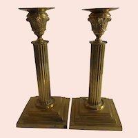 Wonderful Pair of Heavy Brass Empire Candlesticks