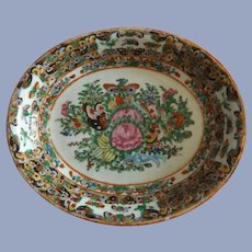 Exquisite Antique Rose Medallion Plate with Butterflies