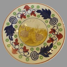 Antique English Stick Spatter Rabbitware Plate with Frog