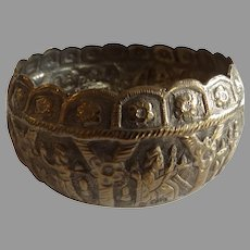 Persian Sterling Silver Bowl with Relief Decoration
